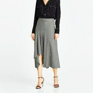 Zara Midi Asymmetric Skirt Black and White
